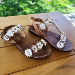 Mariella Italian Leather Sandals with Flowers